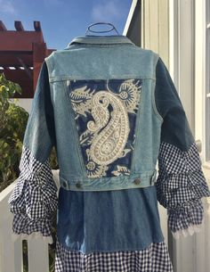 Denim Jacket Embroidery, Denim Duster, Eco Clothing, Upcycled Clothing, Embellished Jeans, Denim And Lace, Gypsy Chic, Gypsy Style, Boho Gypsy