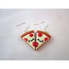 Kawaii Pizza Food Polymer Clay Earrings ($10) ❤ liked on Polyvore