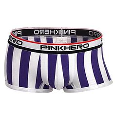 From 2.29 Fulltime(tm) Sexy Man Stripes Soft Cotton Underwear Boxer Briefs Fringe Underpants Various Colors And Size (xl Purple)