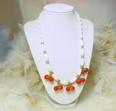 Vintage parts used, Cherry Necklace with rhinestone roundels $45.00