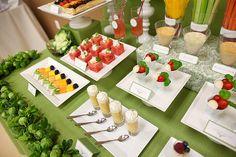 Fruit and veggie table!  Bravo!