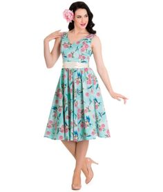 HELL-BUNNY-BLUE-FLORAL-SWALLOWS-LACEY-50S-PIN-UP-DRESS-WEDDING-8-24-PLUS-SIZE