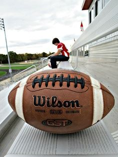 this would be cool with a basketball | SENIOR PHOTO IDEAS FOOTBALL
