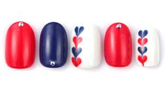Red white and blue nails, love the simple heart accent nails
