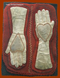 Textiles - Antique Textiles, Wonderful Felt & Leather Heart-In-Hand Pen Wipe - Peggy McClard Antiques - Americana & Folk Art
