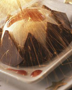 Gelado de iogurte e triângulos de chocolate