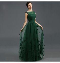 Vintage Abendkleid A-Linie Dunkelgrün