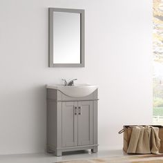 Legion Furniture 24 Inch Cool Grey Single Bathroom Vanity (Assembled   18  To 34 Inches   White/Grey   China   MDF   1 Drawer   Includes Hardware)