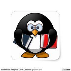 Bookworm Penguin Cute Cartoon Square Sticker