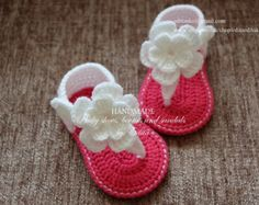 Crochet baby sandals baby slippers booties shoes by EditaMHANDMADE