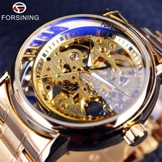 <Click To Buy> Forsining 2016 3D New Series Hollow Full Golden Skeleton Mens Watches Top Brand Luxury Automatic Mechanical Skeleton Watch Clock – 24hr.Watch