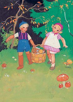 MARTTA WENDELIN | Osastot | Korttien Talo Vintage Children's Books, Vintage Postcards, Vintage Art, Helsinki, Postcard Art, Woodland Fairy, Black And White Pictures, Children's Book Illustration, Art Pictures