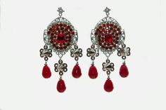Forever Red Crystal & Spikes Earrings