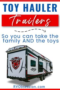 Do you want to travel with your family but also want to take adventure 'toys' for everyone to enjoy? With these toy hauler travel trailers you get the best of both worlds. The garage on these toy hauler travel trailers can all be used for additional living space, whether it's a dining or lounge area, or bunks for the kids. #toyhaulertraveltrailers #toyhaulers Best Travel Trailers, Travel Trailer Living, Lightweight Travel Trailers, Travel Trailer Camping, Toy Hauler Trailers, Toy Hauler Camper, Toy Hauler Travel Trailer, Truck Camper, Used Toy Haulers