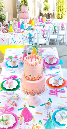 Hooray for the Sprinkle Party! Blakely is THREE! How that is even possible is beyond me but alas, another year down and another chance for me to indulge myself in her party prep. If you missed her fir Girls 3rd Birthday, 3rd Birthday Parties, Birthday Celebration, Paris Birthday, Cake Birthday, Birthday Wishes, Birthday Ideas, Colorful Birthday Party, Sprinkle Party