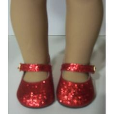Red Glitter Sparkle Doll Shoes for American Girl Dolls and 18 Inch Dolls (Toy)