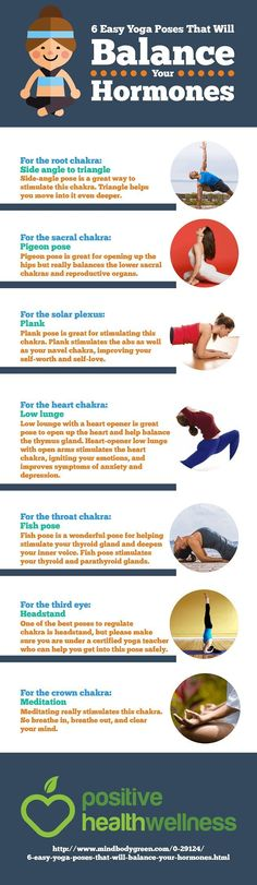 6 easy yoga poses that will balance your hormones. Yoga can do the trick! #hormones #hormonehealth #hormoneimbalance #hormonebalance