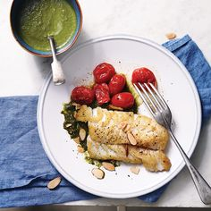 A citrus-laced spinach sauce zests up delicate fish in this healthy Seared Cod with Spinach-Lemon Sauce recipe.