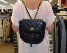 Quilted Chanel backpack for $550 at Costa Mesa Crossroads. Is this for real? It is.