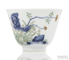 A fine and very rare porcelain month cup of the 12th month, China, underglaze blue Kangxi six-character mark and period