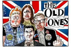 "Peter Brookes cartoon--satire on the show ""The Young Ones"".  I remember this."
