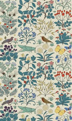 "This would make sweet wallpaper...if I ever applied wallpaper in my life -- ""Apothecary's Garden"" print by CFA Voysey, c. 1926."