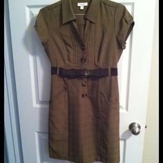 HP Brown Dress with Belt Brown Dress with Belt - buttons up the front. Pockets. No trades, no PayPal. Dress Barn Dresses