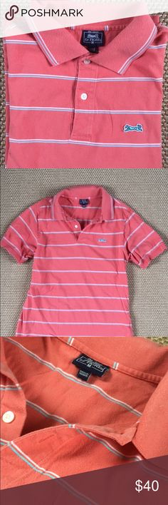 Le Tigre Polo Men Le Tigre Polo salmon color with blue and white striped polo. This might be the softest polo ever. Condition is good. Le Tigre Shirts Polos