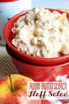 Apple Butterscotch Fluff Salad - Fresh crunchy apples crushed pineapple Cool…