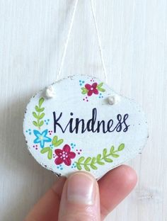'Kindness' Wood Slice, Hand Painted Hanging Decoration