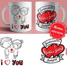 caneca i love you Mason Jar Crafts, Mason Jars, Gifts In A Mug, Gift Mugs, Mug Printing, 50th Birthday Party, Cute Mugs, Valentines Diy, Couple Gifts