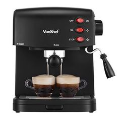 VonShef 15 Bar Pump Espresso Coffee Maker Machine - Create Espressos, Lattes, Cappuccinos and More! -- Check this awesome product by going to the link at the image. (This is an affiliate link and I receive a commission for the sales) Cappuccino Maker, Cappuccino Machine, Espresso Maker, Espresso Cups, Espresso Coffee, Best Coffee, Automatic Espresso Machine, Best Espresso Machine, Coffee Maker Machine