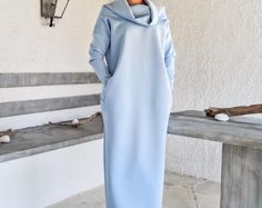 Scuba Neoprene Maxi Dress Kaftan with Pockets / Baby Blue Scuba Kaftan / Plus Size Dress / Oversize Loose Dress / #35192