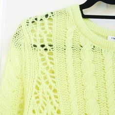 "Equipment Cashmere Wool Blend Sweater Equipment ""lemongrass"" (bright yellow w/a hint of green) cable knit sweater. Open knit side panels keep it light and airy but also create really cool patterns down the arms. Vibrant color + perfect weight (not too heavy / not too light). Size medium w/a slightly drapey oversized fit. Came w/some small pulls in the knit fabric but nothing very noticeable. New and unworn w/original tags (just a bit too big on me). Fabric: 40% cashmere, 30% alpaca, 30%…"