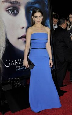 Emilia Clarke is a powerful Khaleesi on the Game of Thrones Season 3 premiere red carpet.