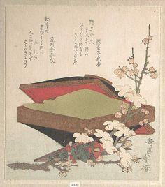 Yashima Gakutei (Japanese, 1786?–1868) | Plum Blossoms and Cake-Box | 1819