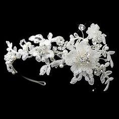 wedding/bridal Quality antique look silver crystal & Lace headband