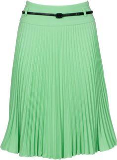 Knee Length Pleated A-Line Skirt with Skinny Belt (Choose fr