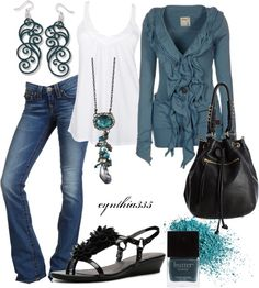 """Ruffled Cardigan"" by cynthia335 on Polyvore (LOVE the teal ruffle cardigan---to bad it's sold out and in the UK... what the junk)"