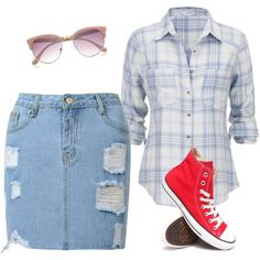 saia jeans by gessilene-ferreira on Polyvore featuring moda, maurices, Converse and River Island