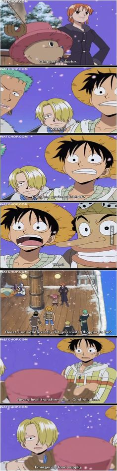 Chopper, Nami, Zoro, Luffy, Sanji, Ussop, Luffy and Sanji