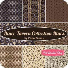 Diner Tavern Collection Blues Fat Quarter Bundle Paula Barnes for Marcus Brothers Fabrics - Fat Quarter Shop