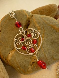 Red Sweetheart Necklace wire jewelry by Juditta on Etsy