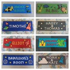 Captivating Items Similar To Personalised Childrenu0027s Bedroom Door Name Plaques Name  Sign. Any Name/Names, Digger, Space, Dinosaur, Football, Jungle. Nursery Decor  Boys ...