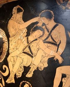 Clytemnestra - The Greek wife of Agamemnon: Apulian red-figure bell-krater, from 380–370 B.C., by the Eumenides Painter, showing Clytemnestra trying to awaken the Erinyes, at the Louvre.