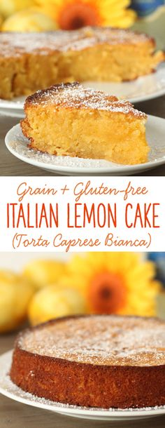 grain-free Italian lemon cake (also known as torta caprese bianca) is made with almond flour and is full of lemon flavor!This grain-free Italian lemon cake (also known as torta caprese bianca) is made with almond flour and is full of lemon flavor! Dessert Sans Gluten, Gluten Free Sweets, Gluten Free Cakes, Gluten Free Baking, Gluten Free Almond Cake, Paleo Dessert, Lemon Recipes Gluten Free, Recipes With Lemon, Fruit Dessert