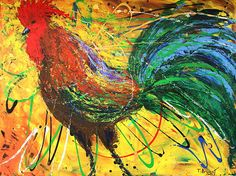 """Acrylic on canvas, """"The King Rooster,"""" by Thomas Bryant, Fine Art America."""