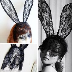 Black Veil Boudior Lingerie Fascinator Floral Lace Bunny Rabbit Ears Headband OS in Clothing, Shoes & Accessories, Women's Accessories, Hats | eBay