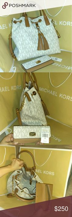 2fe0f6ff2816bb Michael kors gathered purse tote bag w/ wallet Authentic MK gathered bag  shoulder handbag tote