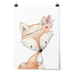 Woodland Nursery Print Animal Nursery Art Floral Woodland